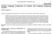 Spain - CLIL article: Foreign Language Competence in Content and Language Integrated Courses David Lasagabaster